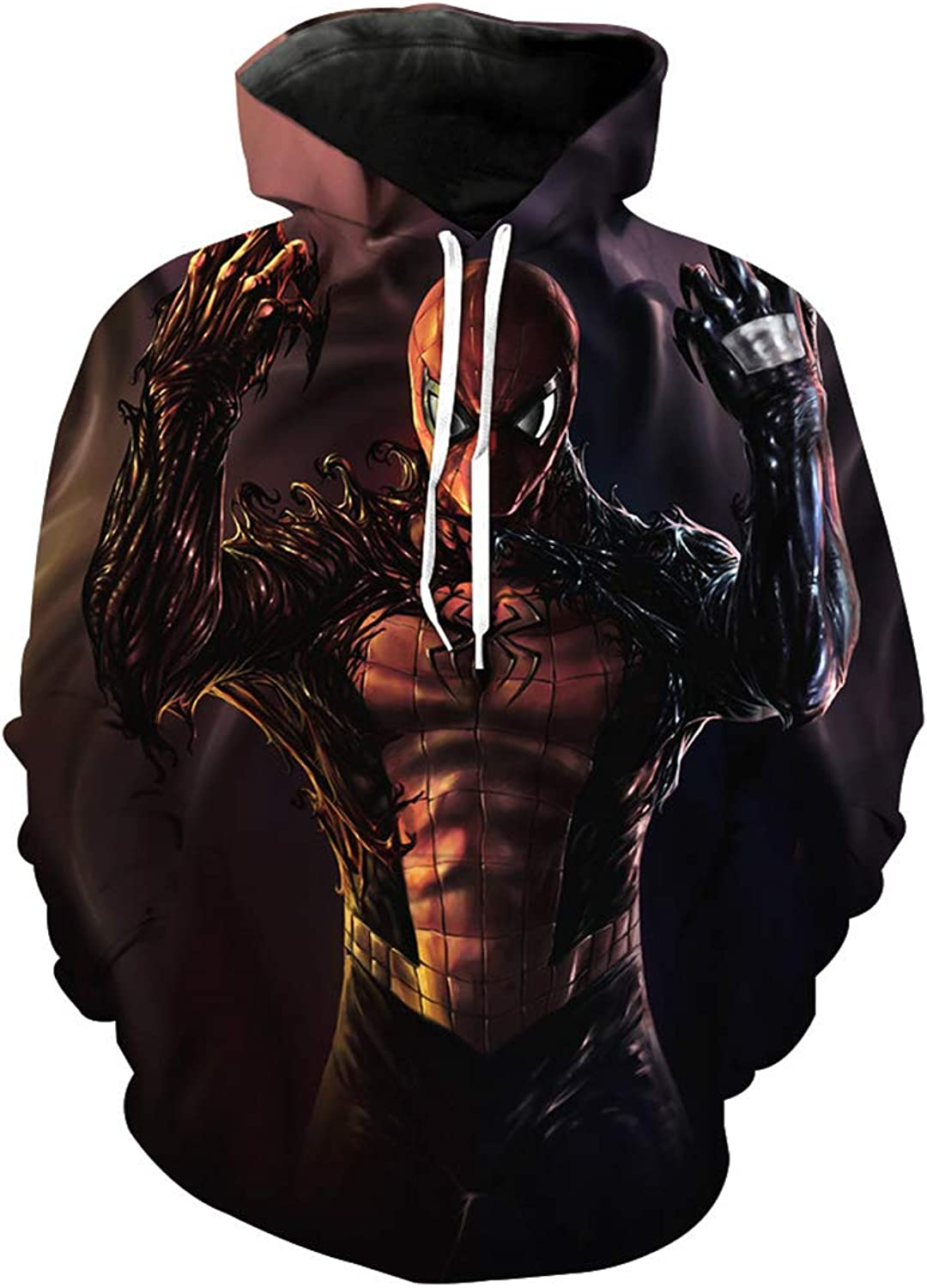3D Printed Hoodie Hooded Sweater Sweatshirt, Fashion Super Hero Dead Venom Spider Animation Pattern Printing Hood Loose Large Size Fashion Casual Couple Sweater