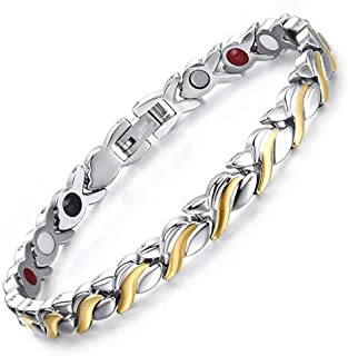 Gold Silver Titanium Steel Magnetic Therapy Health Link Bracelet for Pain Relief Men Women