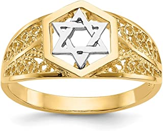 14K Rhodium Plated Yellow Gold Polished Star of David Ring