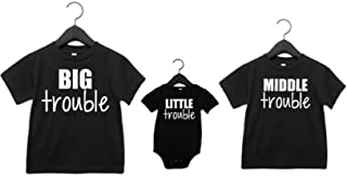 Sibling Shirts Set of 3 Big Trouble Middle Trouble Little Trouble
