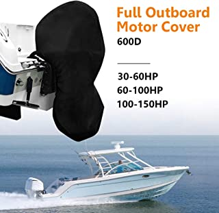 kemimoto Full Outboard Motor Cover, Boat Engine Cover, Trailerable Protector 600D 30-60 HP, 60-100 HP, 100-150 HP Horsepower, Black Heavy Duty Waterporrf Thick Polyester Fabric