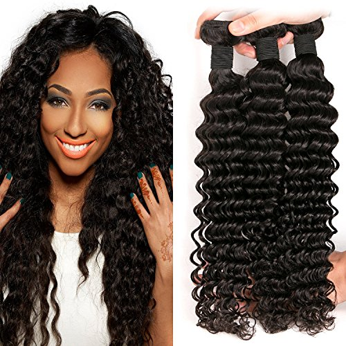 DAIMER Brazilian Deep Wave Bundles Unprocessed Virgin Human Hair Weave Sew In Hair Extensions Double Weft Long Remy Hair for Black Women Natural Color 20 22 24 Inch