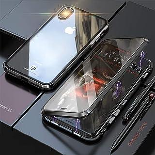 f95d61bd76 iPhone XS ケース iPhoneX カバー アルミ バンパー 透明 両面 強化ガラス 360°全面保護 アイフォン