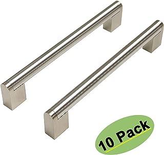 homdiy Brushed Nickel Drawer Pulls - HDJ14SN Kitchen Cabinet Handles Modern Cupboard Handles 10 Pack 6-1/4in Hole Centers Cabinet Pulls for Dresser Drawers