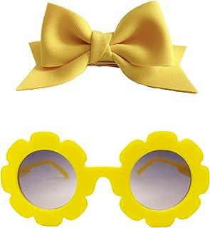مجموعة هدايا الأميرة الصيفية: نظارات شمسية صفراء للفتيات الصغار حماية من الأشعة فوق البنفسجية 400 وفيونكة شعر صفراء للفتيا...