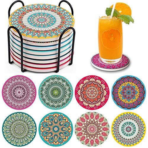 Set di 8 sottobicchieri in ceramica, resistenti al calore, riutilizzabili, con supporto