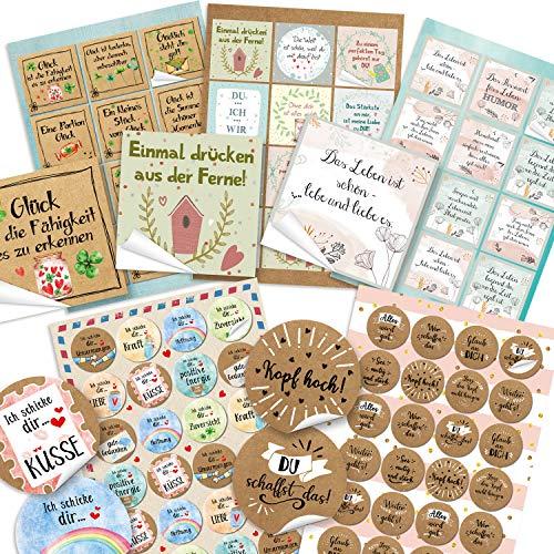 Logbuch-Verlag 84 Geschenkaufkleber rund + quadratisch - bunte Aufkleber mit Text - Motivationsaufkleber für Geschenke Briefe Pakete