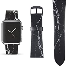Black Marble Replacement Band Compatible for iWatch 42mm/44mm Pastel Bay Wrist Band PU Leather Strap for Apple Watch Smartwatch Series 4 3 2 1 Version