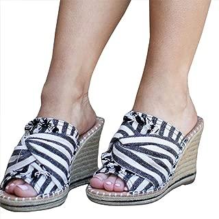 Nailyhome Womens Espadrille Wedge Slides Platform Slip On Sandals High Heel Mules