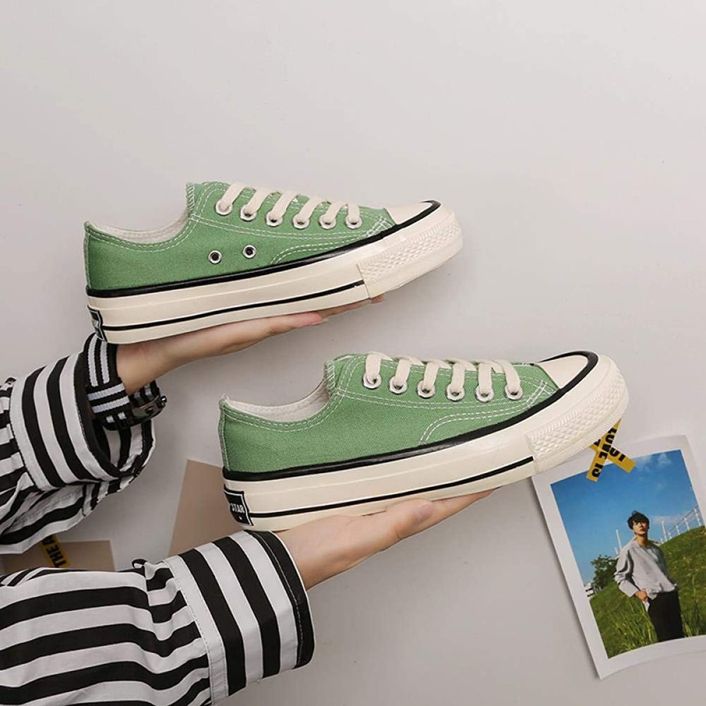 svthmogsx s Engraved Canvas Shoes Female Korean Version of The Couple Shoes Students Low to Help Men and Women, Mint Green, 39 (Male)