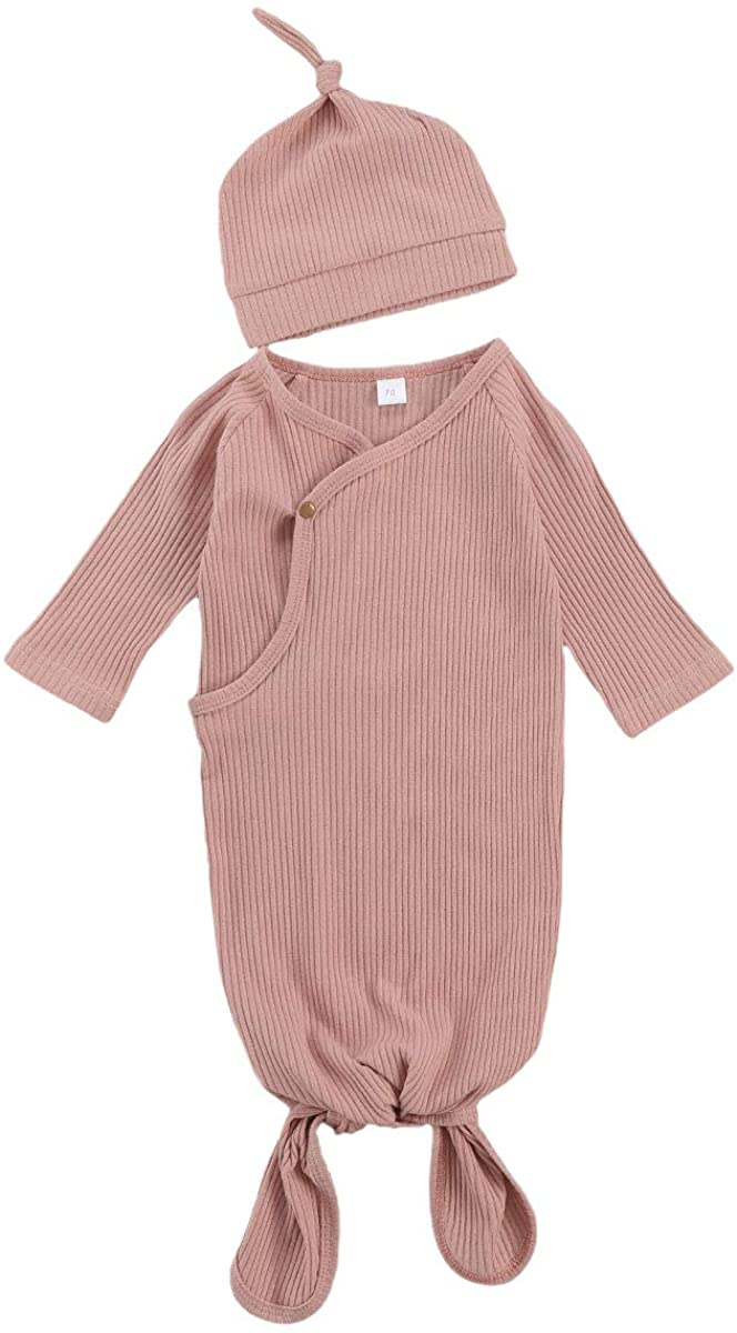 Newborn Baby Girl Floral Sleepwear Nightgowns with Headband Sleeping Bags Coming Home Outfits 0-6Months