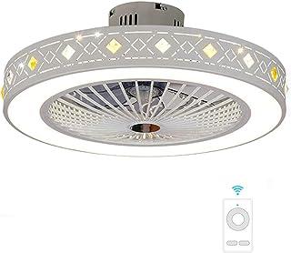 Smotly LED Lamparas de techo y el control remoto de la luz del ventilador de techo invisible, tres colores regulables, ventilador de techo de araña moderna para el hogar de 20 pulgadas, 7#