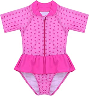 192d6fa90 dPois Infant Baby Girls' Long Sleeves One-Piece Floral Rash Guard Ruffles Swimsuit  Swimwear