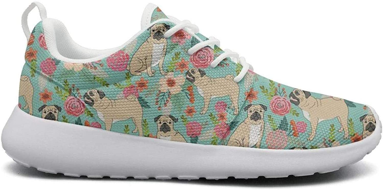 FEWW11 Women Cool Lightweight shoes Sneakers Pet Dog Pugs and Beautiful Florals Breathable Sport Lace-Up