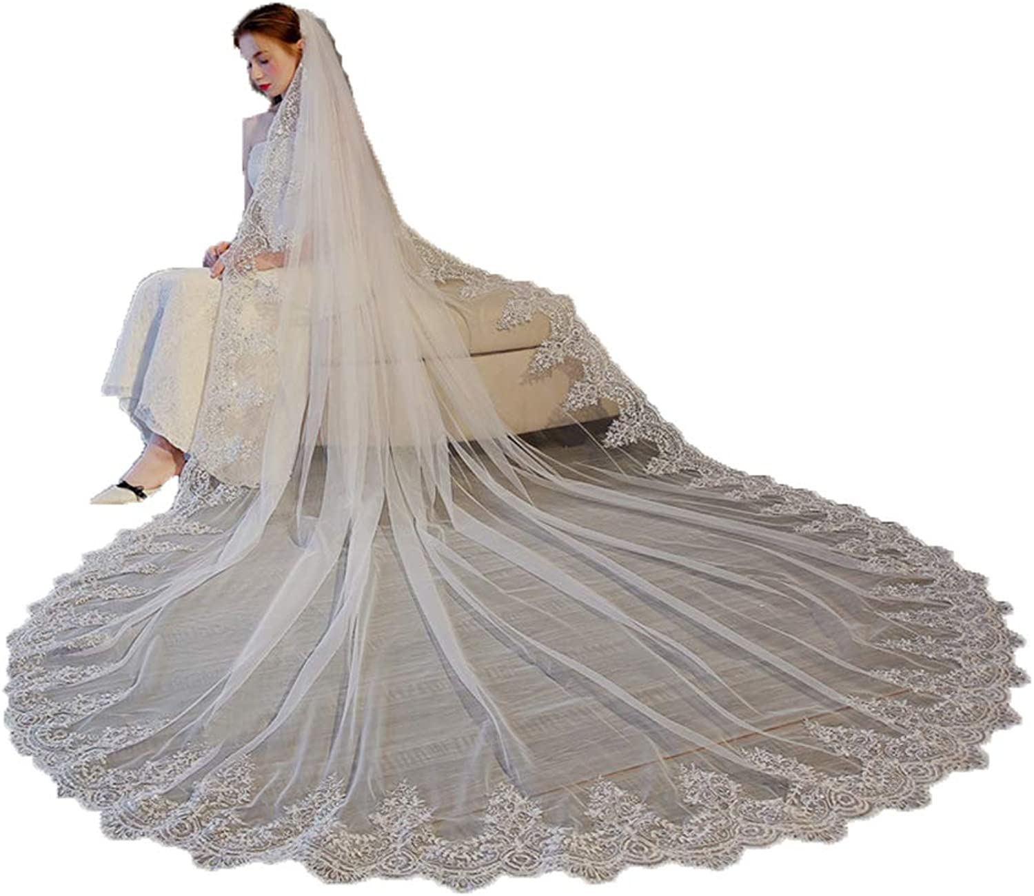 3 Meter White Ivory Cathedral Wedding Veils Long Lace Edge Bridal Veil with Comb Wedding Accessories Bride Mantilla Wedding Veil,White