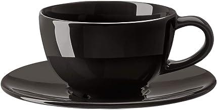 VARDAGEN Tea/Coffee cup and saucer, dark grey, 14 cm