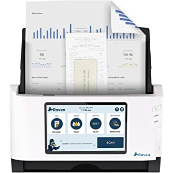 Raven Original Document Scanner - Huge LCD Touchscreen, Color Duplex Feeder (ADF), Wireless Scanning to Cloud, WiFi, Ethernet, USB, Home or Office