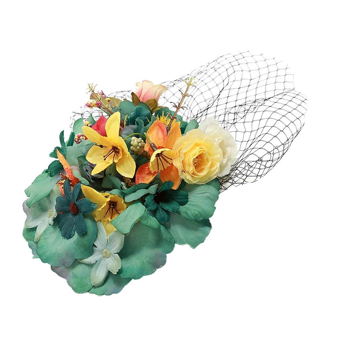 飲食店アーティキュレーションオセアニアLurroseレトロガーゼヘアピン模造フラワーシェイプヘアクリップバレッタ帽子ヘアアクセサリー用女性女性grils