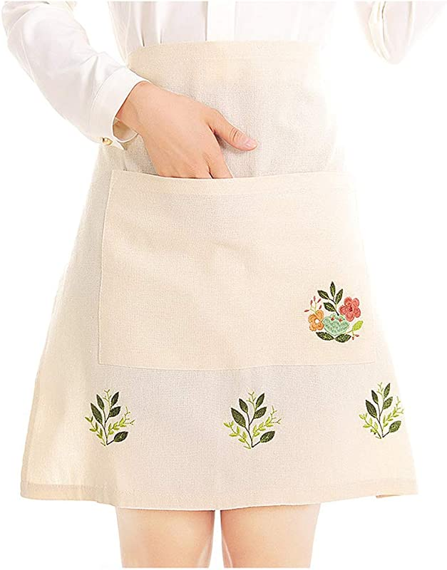 Love Potato Fashion Embroidered Beige Tea Apron Housework Kitchen Half Waist Apron For Women With Pocket 22 4 X 21 2 Inches