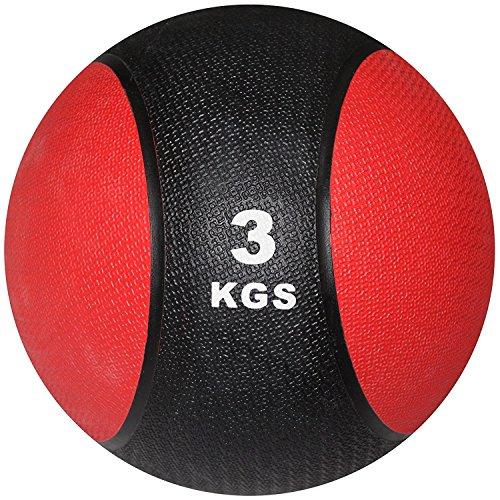 POWRX Balón Medicinal 3 kg - Ideal para Entrenamiento Funcional, Fisioterapia y Gimnasia - Relleno de Aire con Efecto Rebote + PDF Workout (Negro/Rojo)