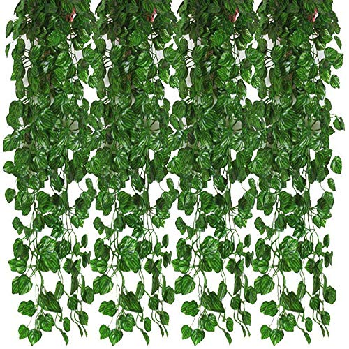 JVSISM 12Pcs Artificial Ivy Garland Leaf Vines Plants Greenery Hanging Fake Plants for Wedding Backdrop Arch Wall Jungle Party