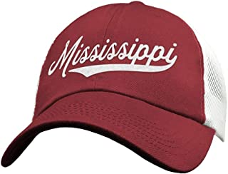 70848519892 State of Mississippi Trucker Hat Baseball Cap - Snapback Mesh Low Profile  Unstructured Sports - MI