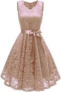 TWIFER Damen Damen Vintage Prinzessin Blumen Spitzekleid,TWIFER Cocktail V-Ausschnitt Party A-line Swing Kleid Abendkleider Hochzeitskleid