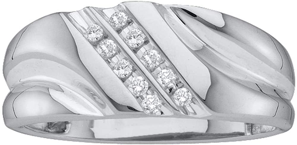 Jewels By Lux 14k White Gold 2-Ro Nippon regular agency Large discharge sale Mens Lightweight Round Diamond