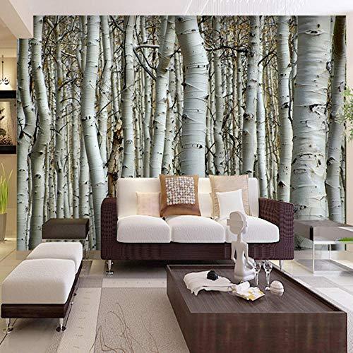 Papel pintado personalizado 3D Mural sin costuras bosque de abedul blanco pintura de pared decoración dormitorio sala de estar papel tapiz de fondo revestimiento de paredes