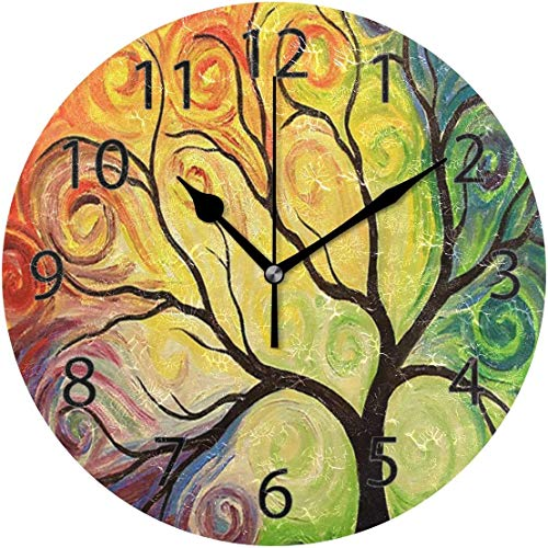xinfub Wall Clock,Round 10 Inch Diameter Silent Fantasy Rainbow Tree Decorative for Home Office School