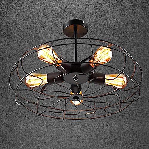 5 luces Ventilador creativo Lámpara de techo Loft Industrial Lámpara de hierro vintage Pueblo americano Granja Restaurante Luz de techo empotrada Personalidad Jaula de hierro negro Accesorio