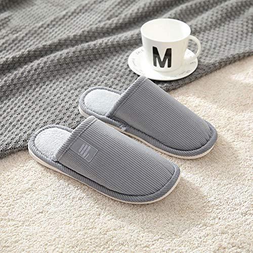 QPPQ Pantuflas de algodón, zapatillas de invierno para parejas, zapatillas de algodón antideslizantes para el hogar, gris_9/9.5, zapatillas de algodón cómodas