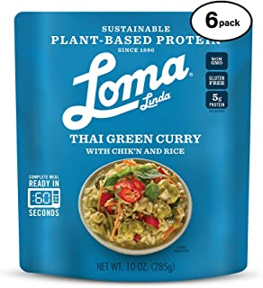 Loma Linda Blue - Plant-Based Complete Meal Solution - Heat & Eat Thai Green Curry (10 oz.) (Pack of 6) - Non-GMO, Gluten Free