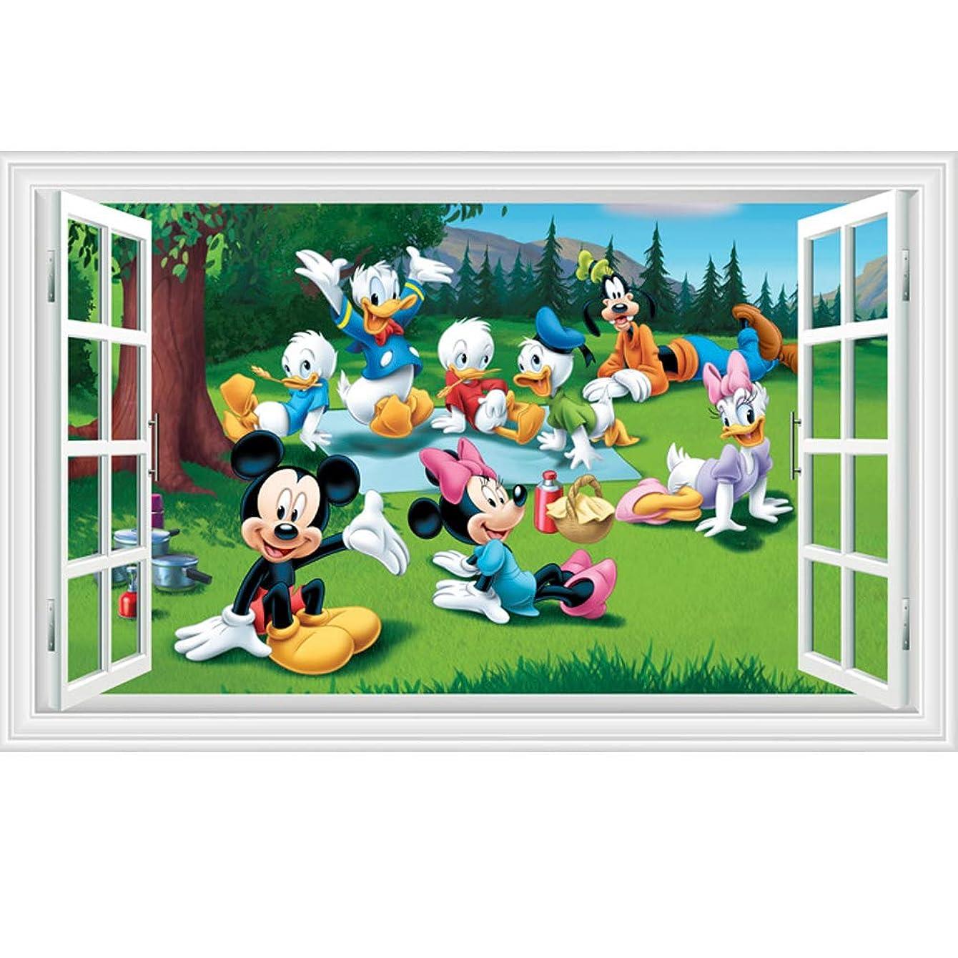 Fangeplus(TM DIY Removable 3D Window View Disney Cartoon Mickey?Mouse?and?Donald?Duck Art Mural Vinyl Waterproof Wall Stickers Kids Room Decor Nursery Decal Sticker Wallpaper 35.4''x23.6''