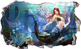 ملصق جداري فانتازيا حورية البحر ثلاثي الابعاد ماجيك ويندو ملصق جداري ذاتي اللصق مقاس 40 * 60 سم