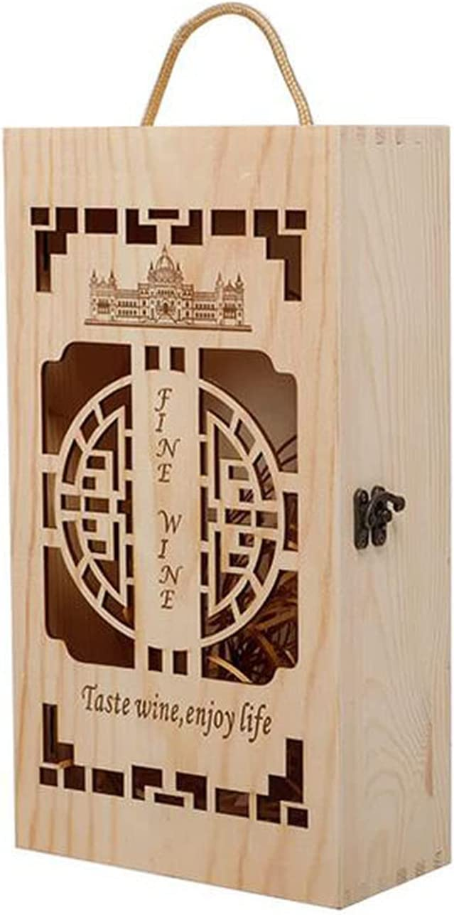 Retro Hollow Wooden Wine Box Two Portable Metal OFFer Car Max 62% OFF Bottles Lock