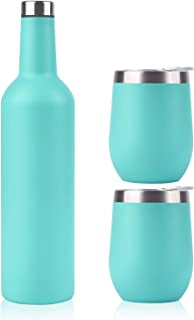 Stainless Steel Wine Bottle and 2 Wine Tumbler Set, Great Gift for Wine Lover and Traveler, Good Partner for Trip and Party, Mint