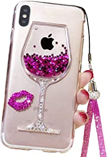 Liquid Glitter Case Compatible for iPhone XR 6.1 Inch (2018), Cute Goblet Wine Glass Quicksand Flowing Floating Bling Sexy Makeup Case for Girls with Neck Lanyard (Rose, iPhone XR)
