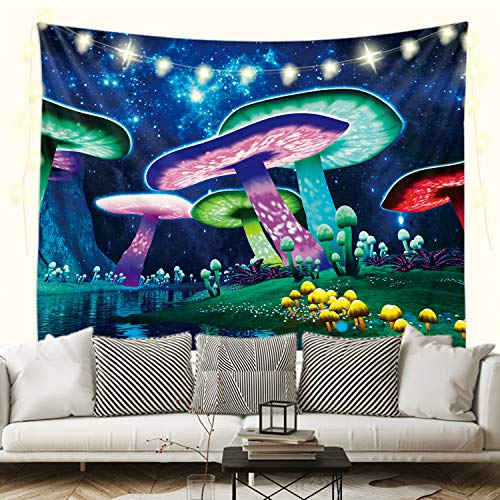 Sevendec Trippy Mushroom Tapestry Psychedelic Galaxy River Wall Hanging Black Light Posters Wall Decor for Bedroom Livingroom Home Dorm W59'x L51'