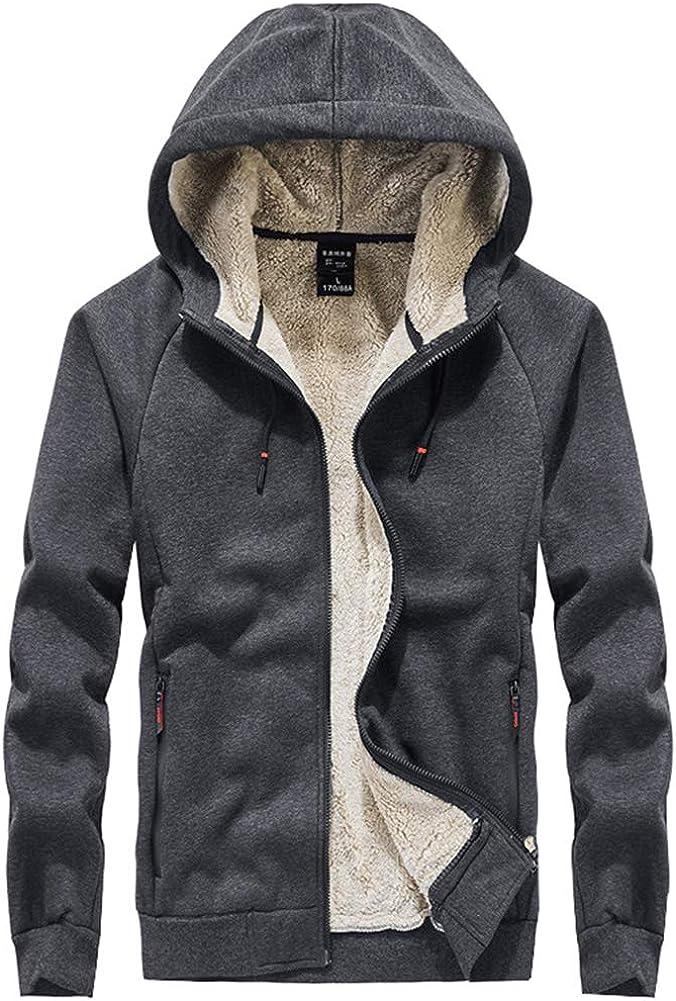 Kedera Men's Winter Thicken Fleece Sherpa Lined Zipper Hoodie Sweatshirt Jacket