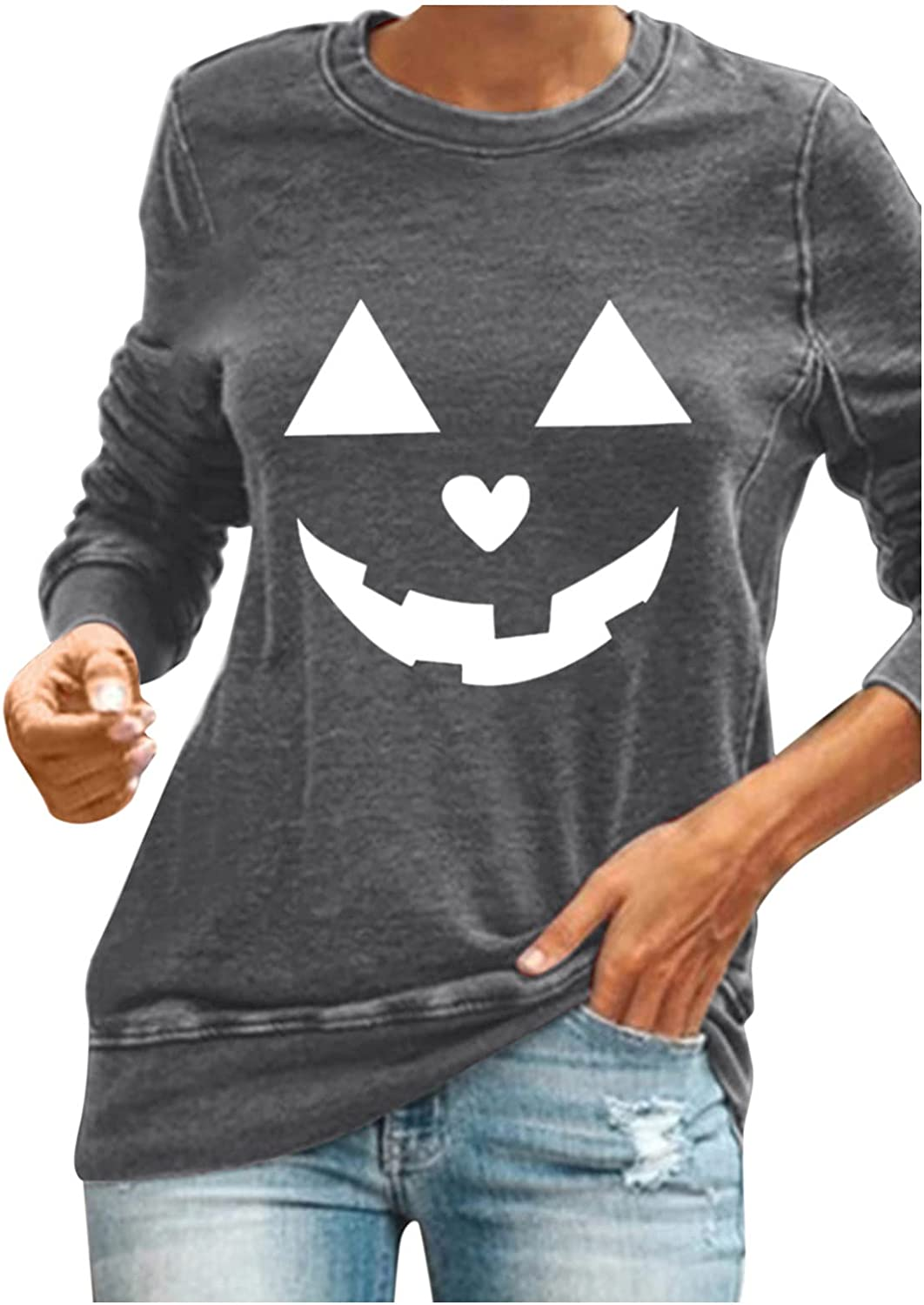 TIANMING Long Sleeve Shirts for Graphic Direct sale of manufacturer Women Halloween Very popular Crewneck