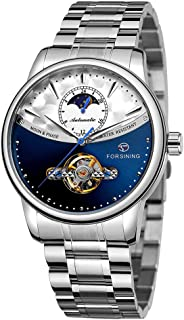 FORSINING 339 Tourbillon Moon Phase Wind-up Movement Mechanical Men Watch Luxury Business Skelenton Male Watch 3ATM Waterp...