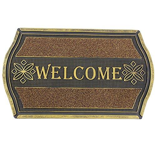 JVL Resistente tapete de Entrada Texto en inglés «Welcome», con Acabado metálico y diseño Floral, PVC, Color Dorado y Negro