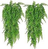 ASHINER 2 Pièces Plante Artificielle Fougère de Boston Plantes, Fausse Mur Végétal Artificiel Tombante, la Maison et la Décoration Extérieur de Mariage Déco Automne