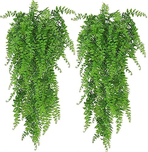 ASHINER 2 Pezzi Finta Felce Piante artificiali da 85 cm, Pianta finta cadente di edera rampicante, vite persiana da appendere lunghe piante finte verdi per feste, matrimoni, cucina, pareti, giardino