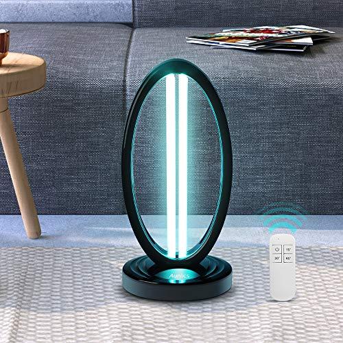 Aunics UV-Sterilisationslampe mit 99 % Virus-Bakterien, 2 Neon 38 W, UV-Licht 254 nm mit Fernbedienung, Einstellungen 5/30/60 Min, UV-Lampe, für die Desinfektion von Räumen, Haus