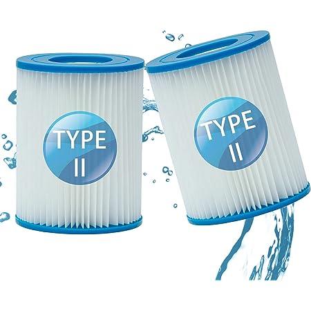 LXTOPN Filtre Piscine pour Bestway Type II, Spa Remplacement Filtre de Piscine gonflable Accessoires, Filtre de Piscine pour Jardin Extérieur, Lavable et Réutilisable Cartouche, 4.17x5.35 inch (2 PCS)