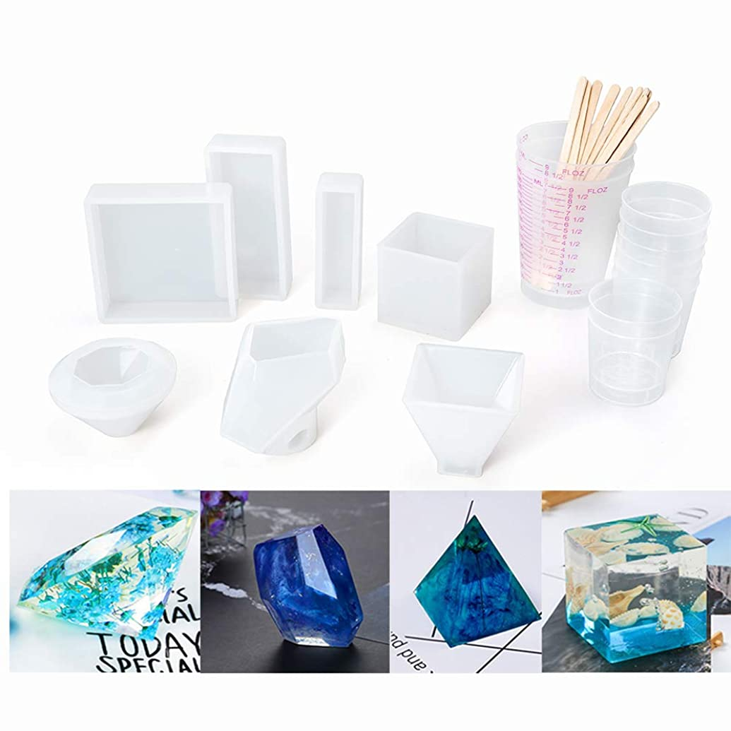 YHQYH Resin Casting Molds,7 Pack Large Clear Silicone Casting Molds for Epoxy Resin Including Cubic, Diamond, Pyramid,Stone Shape,Square,2 Rectangles Mold with Mixing Cups and Wood Sticks