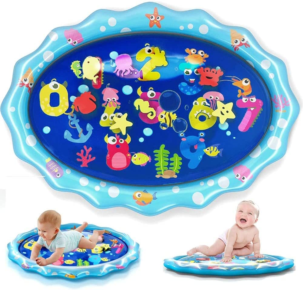 heytech Tummy Time Baby Water Mat, Infant Toy Inflatable Play Mat Activity Center for 3 6 9 Months Newborn Boy Girl 33.5