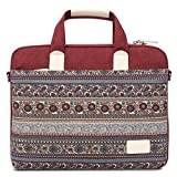 Feisman Laptop and Tablet Bag 13 Inch, Waterproof Canvas Laptop sleeve Messenger Shoulder Bag Case Cover Briefcase for 13-13.3 Inch MacBook Pro, MacBook Air, Notebook Computer -Wine Red